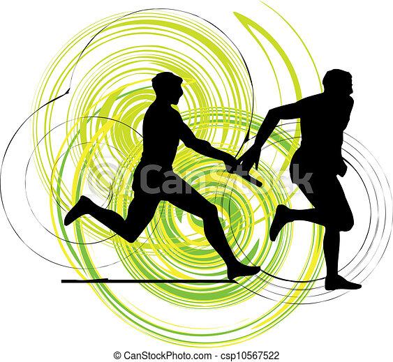 Running men, Vector illustration - csp10567522