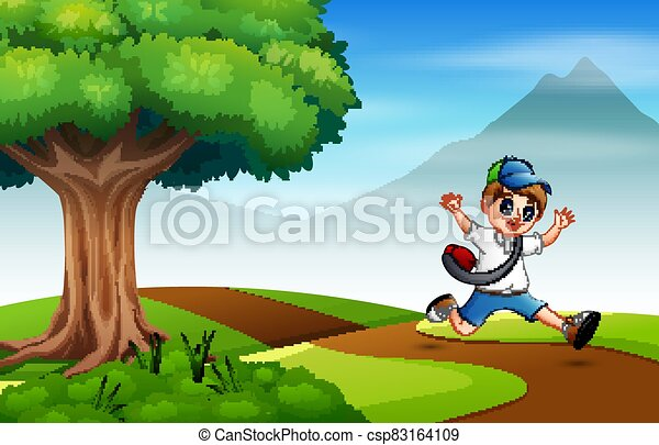 running on the road to school - csp83164109