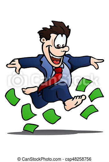 illustration of a happy businessman running on top of money stock rh canstockphoto com