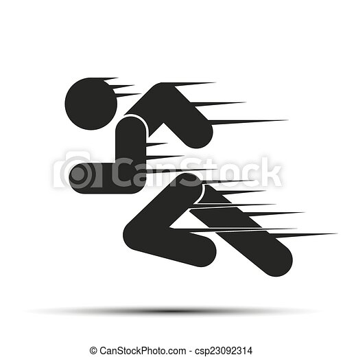 Running people in motion. Simple symbol of run isolated on a white background. - csp23092314