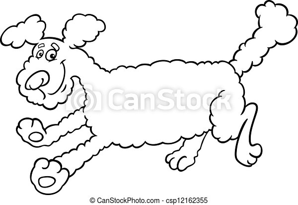 running poodle cartoon for coloring - csp12162355