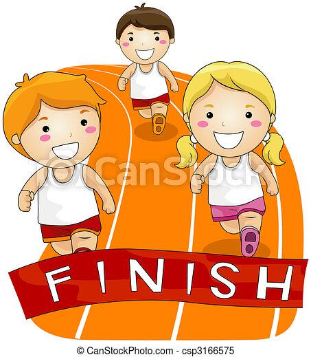 running race children running in a race stock illustrations rh canstockphoto com Girl Running Clip Art child running clipart black and white