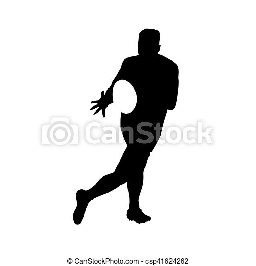 Running rugby player catching ball, vector silhouette - csp41624262