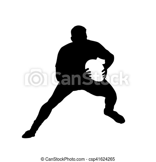 Running rugby player catching ball, vector silhouette - csp41624265