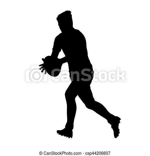 Running rugby player holding ball, vector silhouette - csp44206607