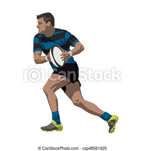 Running rugby player with ball in his hands, vector illustration - csp48561925