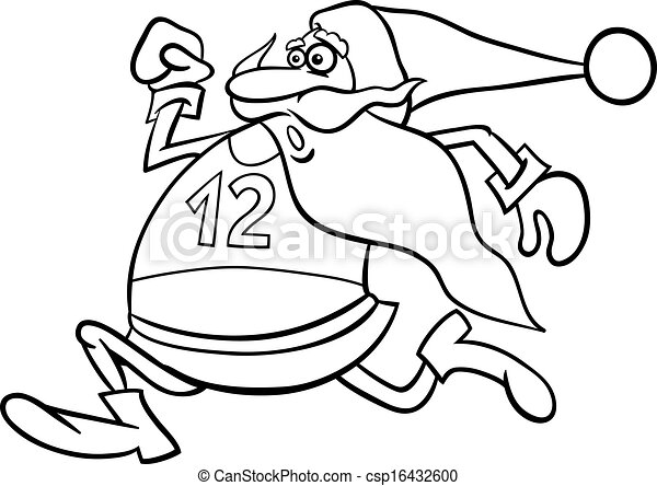 running santa cartoon coloring page - csp16432600
