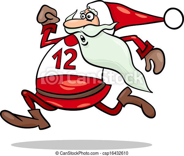 running santa claus cartoon illustration - csp16432610