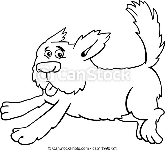 running shaggy dog cartoon for coloring - csp11990724