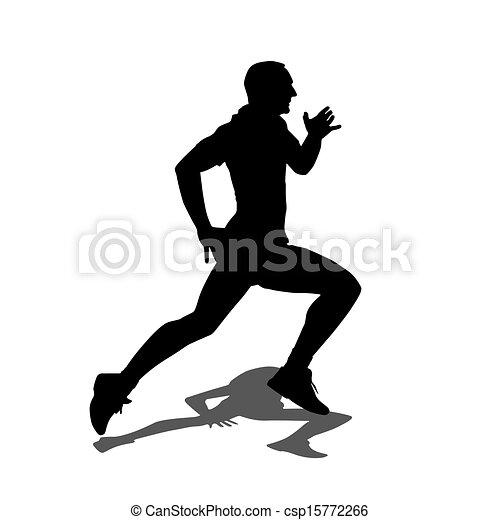 Running silhouettes. Vector illustration. - csp15772266