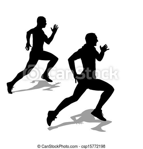 Running silhouettes. Vector illustration. - csp15772198