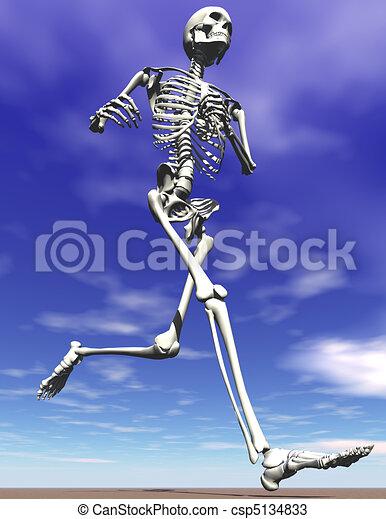 Running Steel Skeleton Symbolizing Strength Endurance And Power