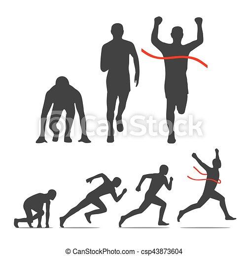 Running step icon. Runner from start to finish. - csp43873604