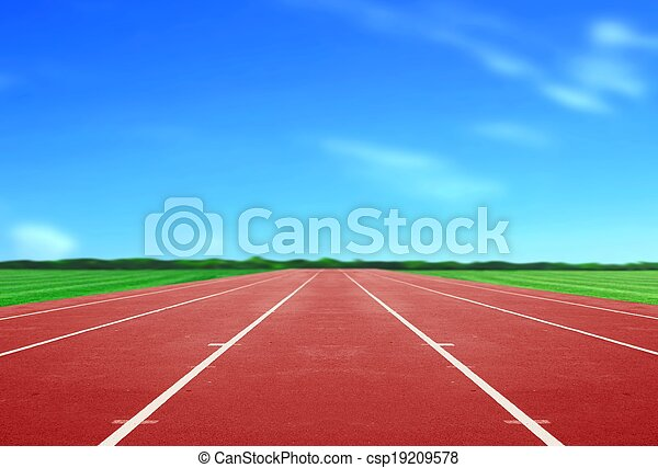 Running Track under Blue Sky - csp19209578