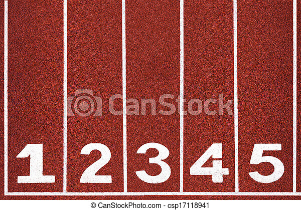 Running track with number 1-5, abstract, texture, background. - csp17118941