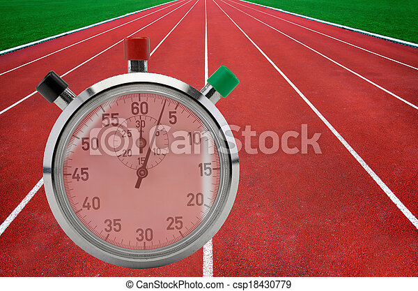 Running tracks and stop watch - csp18430779