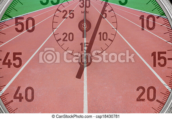 Running tracks with stop watch - csp18430781