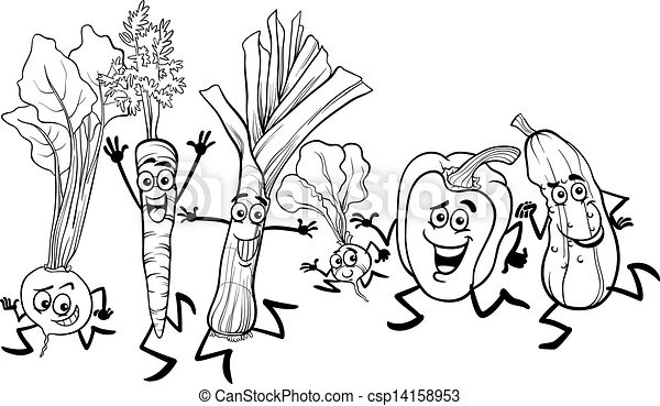 running vegetables cartoon for coloring - csp14158953