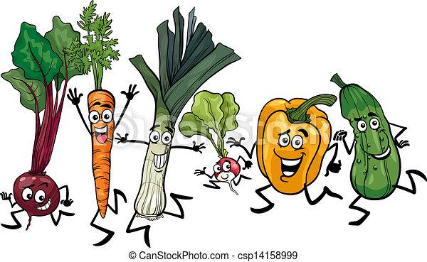 running vegetables cartoon illustration - csp14158999