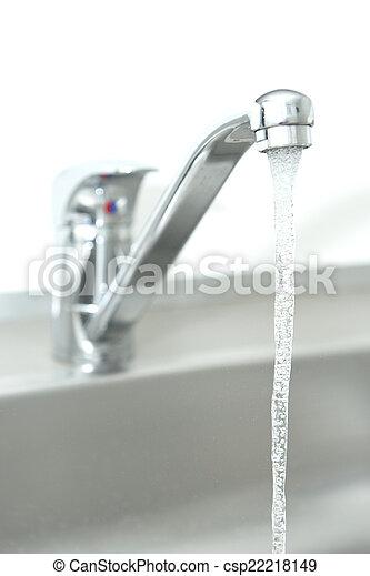 Running water tap. Closeup of a running kitchen water tap stock ...