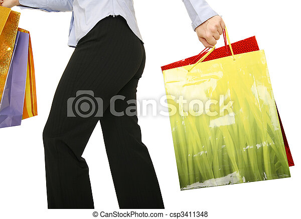 Running With Shopping Bags - csp3411348