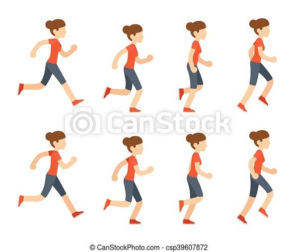 Running woman animation sprite set. 8 frame loop. flat cartoon style ...