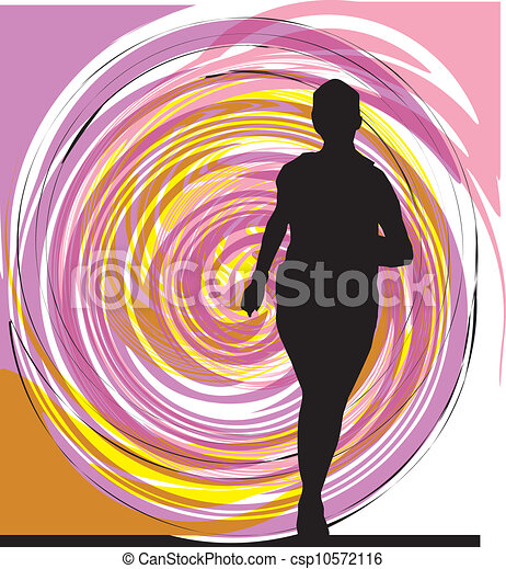 Running woman illustration - csp10572116