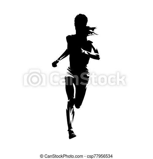 running woman isolated vector silhouette front view female runner running woman isolated vector silhouette front view female runner