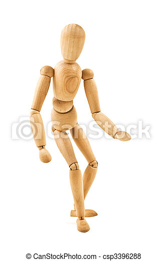 running wooden mannequin isolated on white background - csp3396288