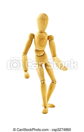 running wooden mannequin isolated on white background - csp3274860
