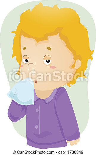 Runny Nose Kid Illustration Of A Boy Down With Cold With Mucus Dripping From His