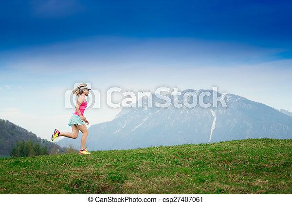 runs in the mountains - csp27407061