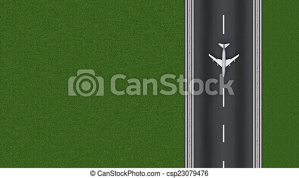runway approach at the airport - csp23079476