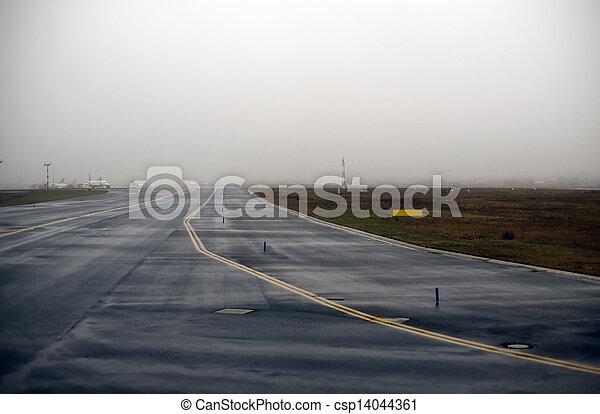 Runway in fog - csp14044361
