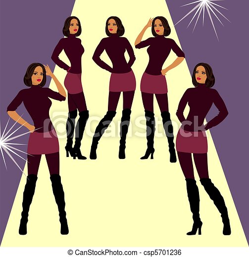 Runway Fashion Model In Different Poses Stock Illustration