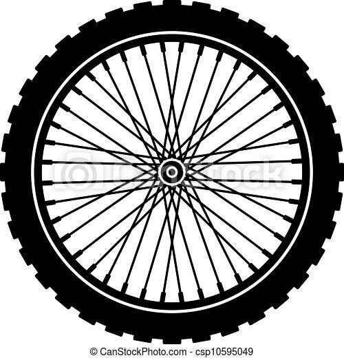 ruota, nero, bicicletta, silhouette, vettore - csp10595049