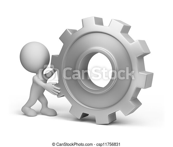 ruota, persona, ingranaggio, 3d - csp11756831