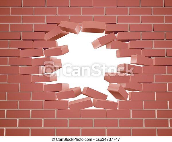 rupture, mur, brique - csp34737747