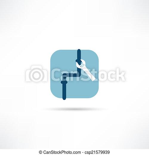 rura, naprawa, ikona - csp21579939