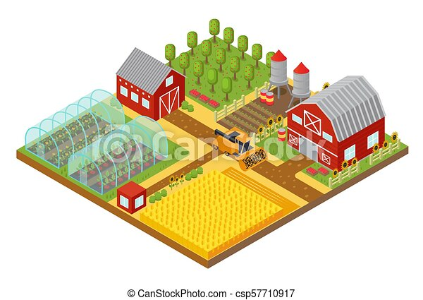 Rural 3d farm isometric template with garden, field farmer house and ...