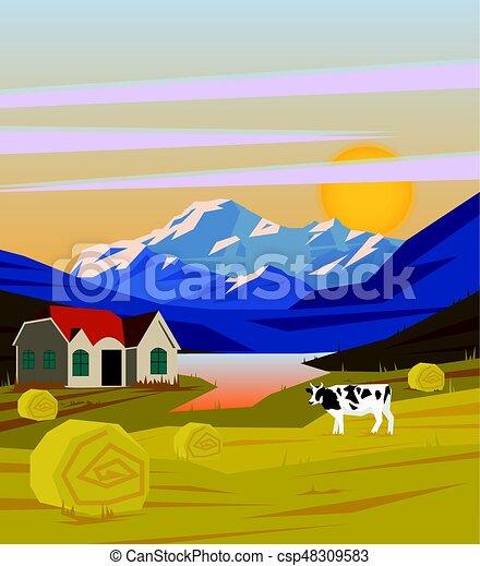 Rural Coloridos Desenho Paisagem Modelo Vaca Coloridos