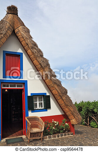 Rural cottage with a thatched roof - csp9564478