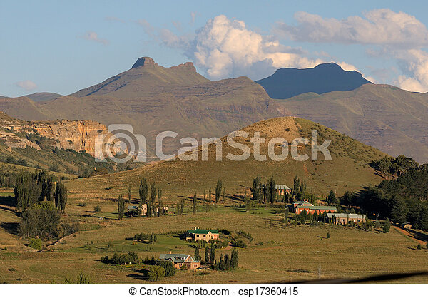 Rural landscape near Clarens, South Africa - csp17360415