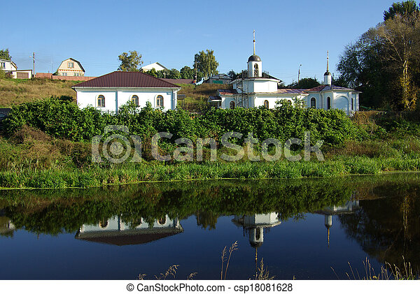 Rural landscape with a river in Bykovo, Russia - csp18081628