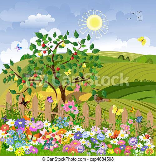 Rural landscape with fruit trees and a fence - csp4684598