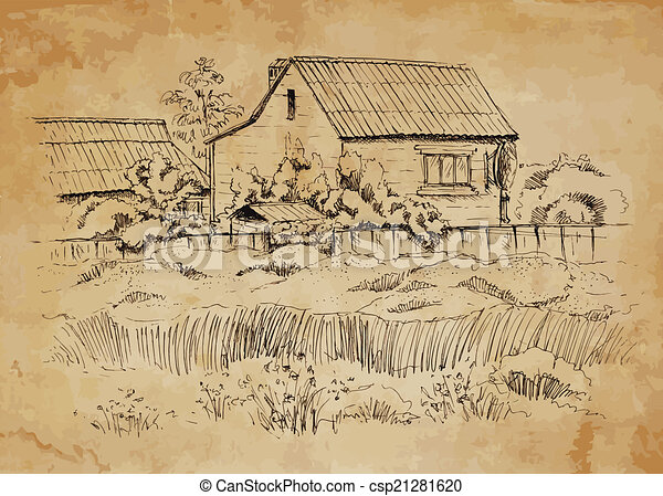 Rural landscape with old farmhouse. - csp21281620