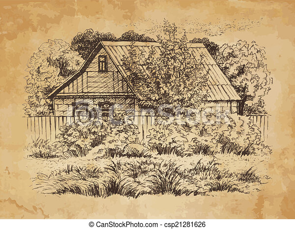 Rural Landscape With Old Farmhouse