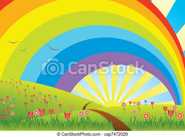rural landscape with rainbow - csp7472029