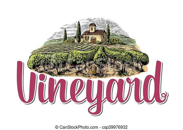 Rural landscape with villa, vineyard fields and hills. - csp39976932