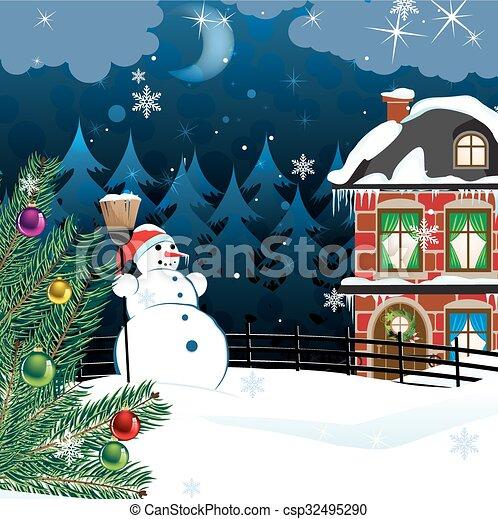 Paisaje de invierno rural - csp32495290